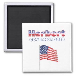 Herbert Patriotic American Flag 2010 Elections Square Magnet