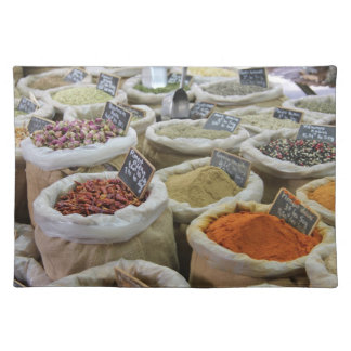 Herbs and spices at a french market placemat