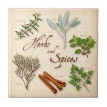 Herbs and Spices, Rosemary, Sage, Thyme, Cinnamon Small Square Tile