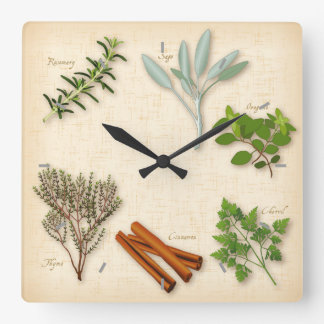 Herbs and Spices, Rosemary, Sage, Thyme, Cinnamon Wall Clock
