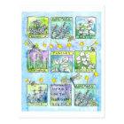 Herbs Garden Dragonflies Honey Bees Watercolor Postcard