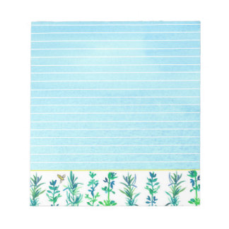 Herbs Rosemary Thyme Bee Blue Lined Notepad