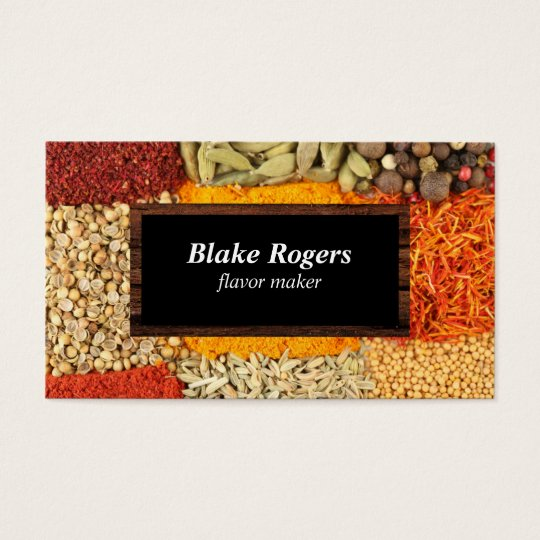Herbs & Spices | Black / Wood Frame Business Card