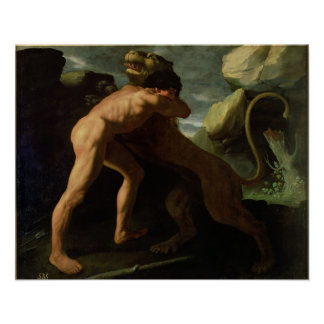 Hercules Fighting with the Nemean Lion Poster