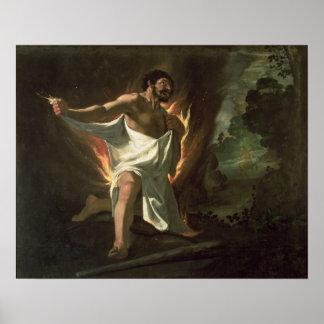 Hercules Tearing the Burning Robe, c.1634 Poster