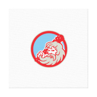 Hercules Wielding Club Circle Retro Gallery Wrapped Canvas