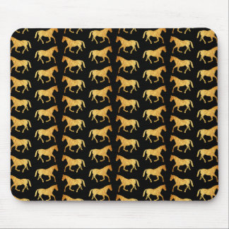 Herd Of Golden Horses Tiled Pattern Mouse Pad