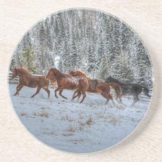 Herd of Horses Running in Winter Snow Coaster
