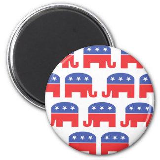 Herd of Republican Elephants 6 Cm Round Magnet
