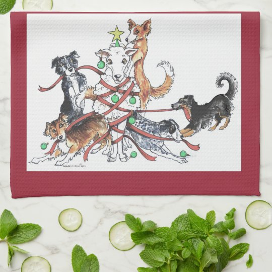 Herding dog Christmas Kitchen Towels