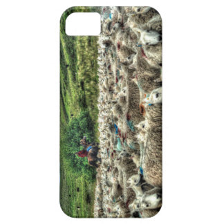 Herding sheep from horseback in Wales iPhone 5 Case