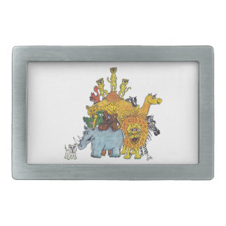 Here a group of animal some big and some tall rectangular belt buckle