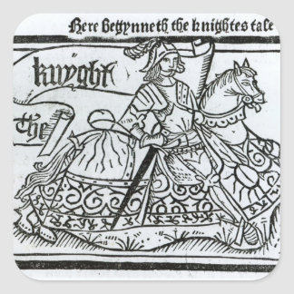 'Here Begynneth the Knightes Tale' Square Sticker