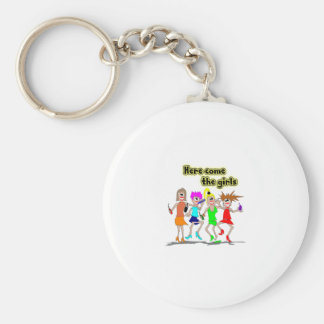 Here come the girls basic round button key ring