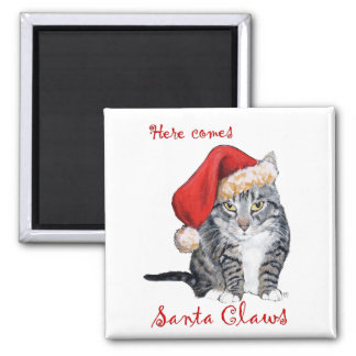 Here Comes Santa Claws! Square Magnet