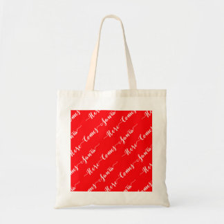 Here Comes Santa White Text Christmas Red Velvet Budget Tote Bag