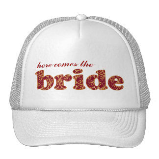 """Here comes the Bride"" Berry Red Clusters Hat"
