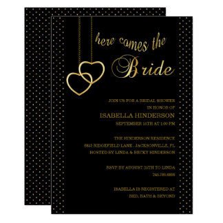 Here Comes the Bride - Black & Gold Card