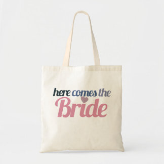 Here comes the bride budget tote bag