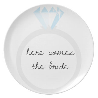 Here Comes the Bride Diamond Ring Dinner Plate