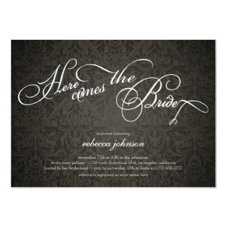 Here comes the bride Elegant Damask Bridal Shower 11 Cm X 16 Cm Invitation Card