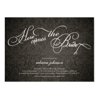 Here comes the bride Elegant Damask Bridal Shower Personalized Invitations