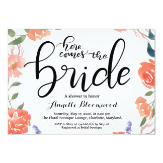 Here Comes The Bride Floral Bridal Shower Card