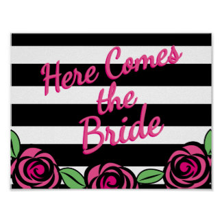 Here Comes The Bride, Pink Roses Poster