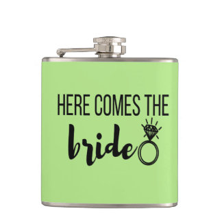 Here Comes the Bride Vinyl Wrapped Flask