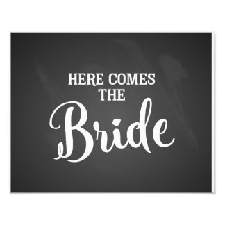 here comes the bride wedding sign chalkboard