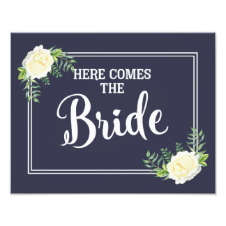 here comes the bride wedding sign Navy Ivory Rose Photographic Print