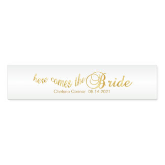 Here Comes the Bride - White & Gold Napkin Band