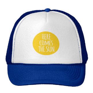 here comes the sun, word art, t-shirt design cap
