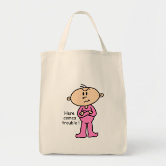 Here Comes Trouble Baby (PINK) Grocery Tote Bag