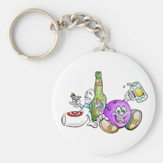 Here for the Beer! Basic Round Button Key Ring