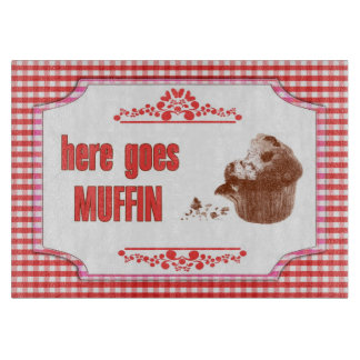 Here Goes Muffin Red Gingham Cutting Board