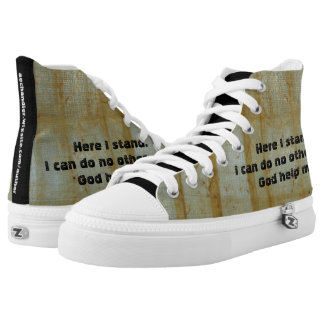 Here I Stand High Top Shoes Printed Shoes