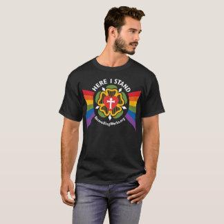 """""""Here I Stand"""" t-shirt (on dark fabric)"""