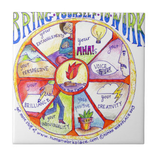 Here is our Bring Yourself to Work Wheel design Small Square Tile