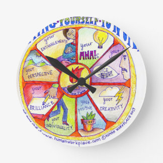Here is our Bring Yourself to Work Wheel design Wall Clock