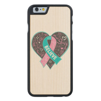 Hereditary Breast Cancer Believe Ribbon Heart Carved® Maple iPhone 6 Slim Case