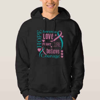 Hereditary Breast Cancer Hope Words Collage Hooded Pullover