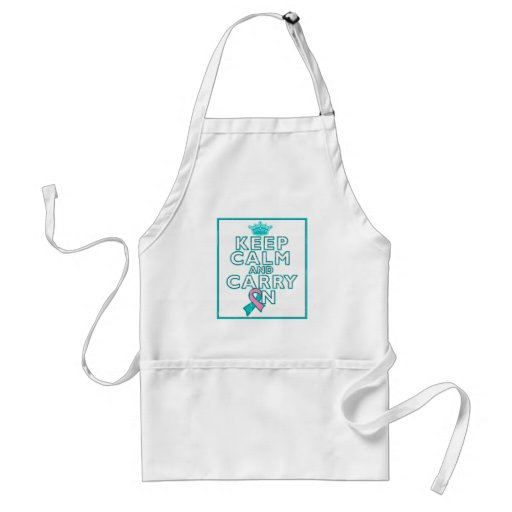 Hereditary Breast Cancer Keep Calm and Carry ON Apron