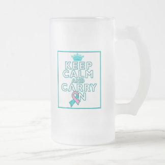 Hereditary Breast Cancer Keep Calm and Carry ON Glass Beer Mug