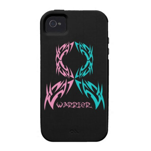 Hereditary Breast Cancer Warrior Tribal Ribbon Case-Mate iPhone 4 Cover
