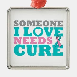 Hereditary Breast Ovarian Cancer Need A Cure Square Metal Christmas Ornament
