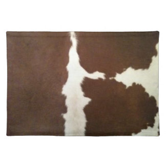 Hereford Brown and White Faux Cowhide Placemat
