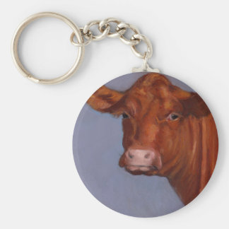 Hereford Cow Oil Pastel Painting Original Art Keychains