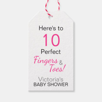 'Here's to 10 Perfect Fingers & Toes' Baby Shower Gift Tags