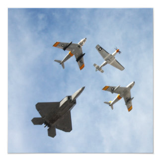 Heritage - P-51 Mustang,F-86-F Saber,F-22A Raptor 13 Cm X 13 Cm Square Invitation Card